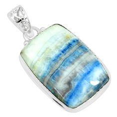 20.51cts natural blue scheelite (lapis lace onyx) 925 silver pendant p66313