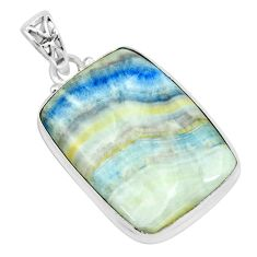 25.57cts natural blue scheelite (lapis lace onyx) 925 silver pendant p66315