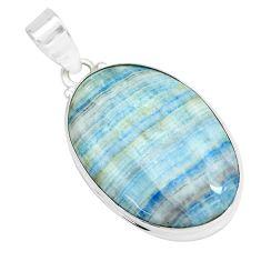 24.33cts natural blue scheelite (lapis lace onyx) 925 silver pendant p66319