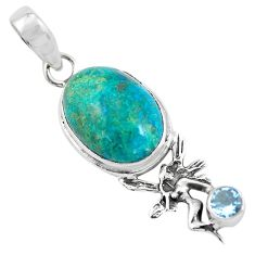 13.77cts natural blue shattuckite 925 silver angel wings fairy pendant p55325