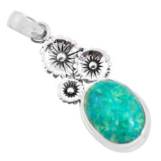14.41cts natural blue shattuckite 925 sterling silver flower pendant p55323