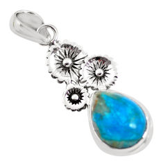 9.67cts natural blue shattuckite 925 sterling silver flower pendant p55329