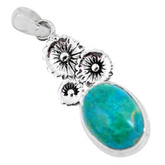 14.12cts natural blue shattuckite 925 sterling silver flower pendant p55333