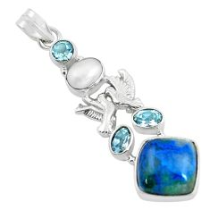 Clearance Sale- 13.57cts natural blue shattuckite pearl 925 silver love birds pendant d31803