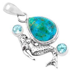 11.93cts natural blue shattuckite topaz 925 silver fairy mermaid pendant p55332