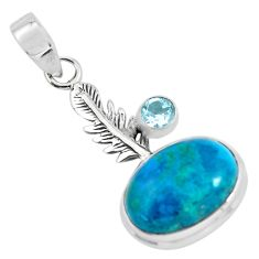 14.26cts natural blue shattuckite topaz 925 silver feather charm pendant p55327