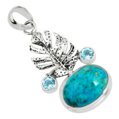 14.04cts natural blue shattuckite topaz 925 silver feather charm pendant p55330