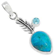 10.81cts natural blue shattuckite topaz 925 silver feather charm pendant p55396