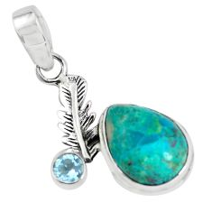 10.81cts natural blue shattuckite topaz 925 silver feather charm pendant p55397