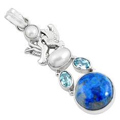 18.22cts natural blue shattuckite topaz 925 silver love birds pendant d31834