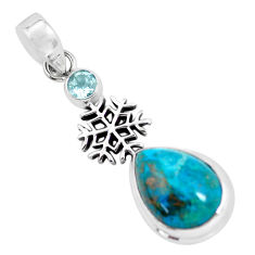 10.60cts natural blue shattuckite topaz 925 silver snowflake pendant p55326