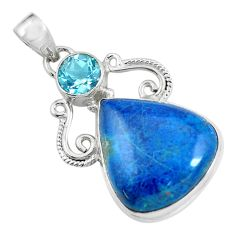 27.70cts natural blue shattuckite topaz 925 sterling silver pendant d31802