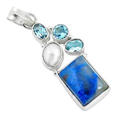 11.02cts natural blue shattuckite topaz 925 sterling silver pendant d31815