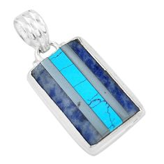14.72cts natural blue sodalite sleeping beauty turquoise silver pendant p59184