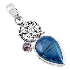 15.02cts natural blue swedish slag 925 silver cupid angel wings pendant p55241