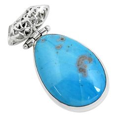 22.05cts natural blue swedish slag 925 sterling silver pendant jewelry d31866
