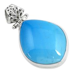 24.35cts natural blue swedish slag 925 sterling silver pendant jewelry d31870