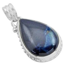 15.08cts natural blue swedish slag 925 sterling silver pendant jewelry p85323