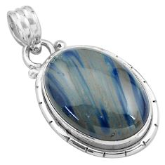 14.05cts natural blue swedish slag 925 sterling silver pendant jewelry p85326