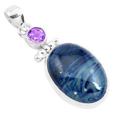 19.72cts natural blue swedish slag amethyst 925 sterling silver pendant p40900