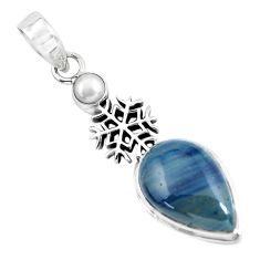 12.03cts natural blue swedish slag pearl 925 silver snowflake pendant p55253