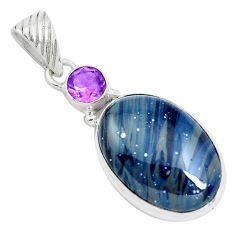 16.57cts natural blue swedish slag purple amethyst 925 silver pendant p40886