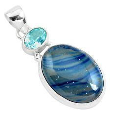 17.22cts natural blue swedish slag topaz 925 sterling silver pendant p40893