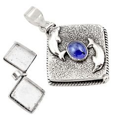 1.99cts natural blue tanzanite 925 silver poison box dolphin pendant p79957