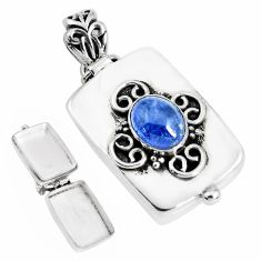 2.96cts natural blue tanzanite 925 sterling silver pendant jewelry p44896