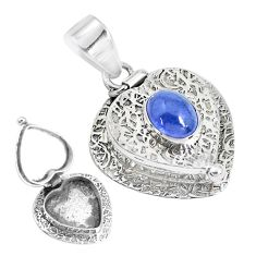 2.99cts natural blue tanzanite 925 sterling silver poison box pendant p44932