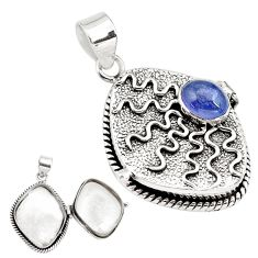 2.29cts natural blue tanzanite 925 sterling silver poison box pendant p79849