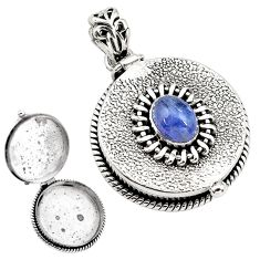 2.34cts natural blue tanzanite 925 sterling silver poison box pendant p79877