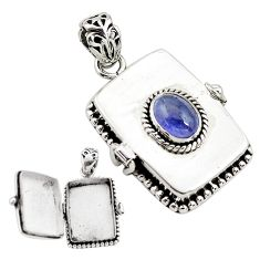 1.94cts natural blue tanzanite 925 sterling silver poison box pendant p80013