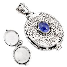 2.25cts natural blue tanzanite 925 sterling silver poison box pendant p92875