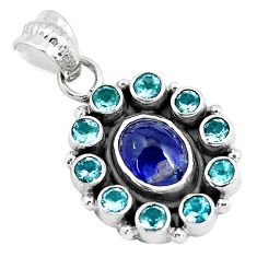 7.97cts natural blue tanzanite topaz 925 sterling silver pendant jewelry d30934
