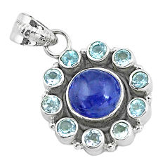 Clearance Sale- 7.33cts natural blue tanzanite topaz 925 sterling silver pendant jewelry d31874