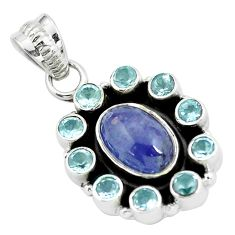 Clearance Sale- 8.80cts natural blue tanzanite topaz 925 sterling silver pendant jewelry d31962