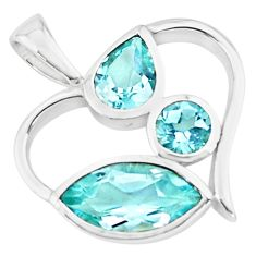 6.39cts natural blue topaz 925 sterling silver heart pendant jewelry p73787