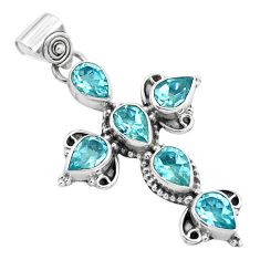 8.94cts natural blue topaz 925 sterling silver holy cross pendant jewelry p35986