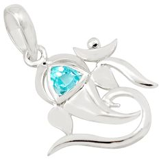 0.99cts natural blue topaz 925 sterling silver lord ganesha pendant p83972