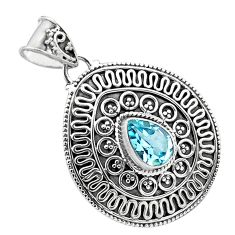 2.27cts natural blue topaz 925 sterling silver pendant jewelry p86266