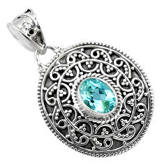2.35cts natural blue topaz 925 sterling silver pendant jewelry p86330
