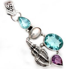 NATURAL BLUE TOPAZ AMETHYST 925 STERLING SILVER SNAIL PENDANT JEWELRY A1540