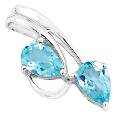 4.42cts natural blue topaz pear 925 sterling silver pendant jewelry p36469