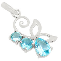3.67cts natural blue topaz pear 925 sterling silver pendant jewelry p82004