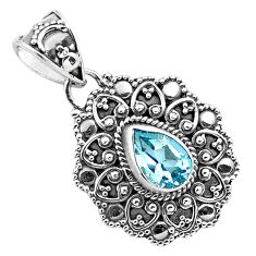 2.35cts natural blue topaz pear 925 sterling silver pendant jewelry p86315