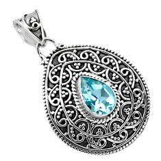 2.35cts natural blue topaz pear 925 sterling silver pendant jewelry p86329