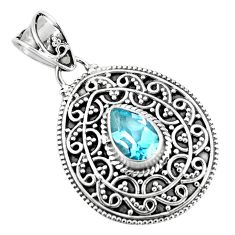 2.24cts natural blue topaz pear 925 sterling silver pendant jewelry p90243