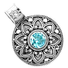 2.56cts natural blue topaz round 925 sterling silver pendant jewelry p86249