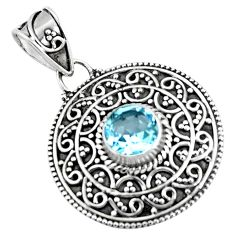 2.12cts natural blue topaz round 925 sterling silver pendant jewelry p90234